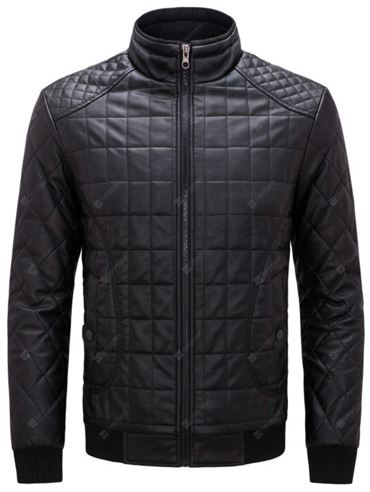 Stand Collar Grid Quilted Fake Leather Jacket