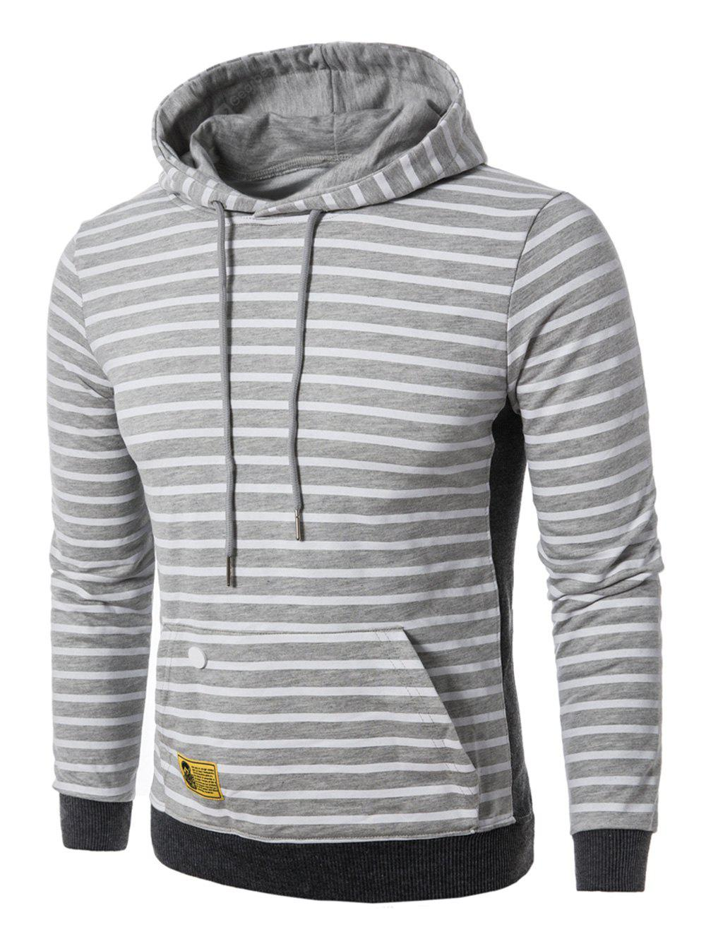 Hooded Rib Panel Pouch Pocket Stripe Pullover Hoodie