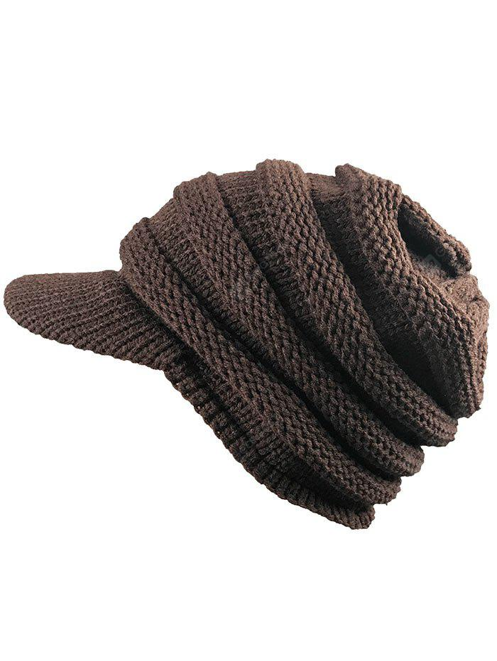 Vintage Striped Pattern Ribbed Knit Hat with Brim