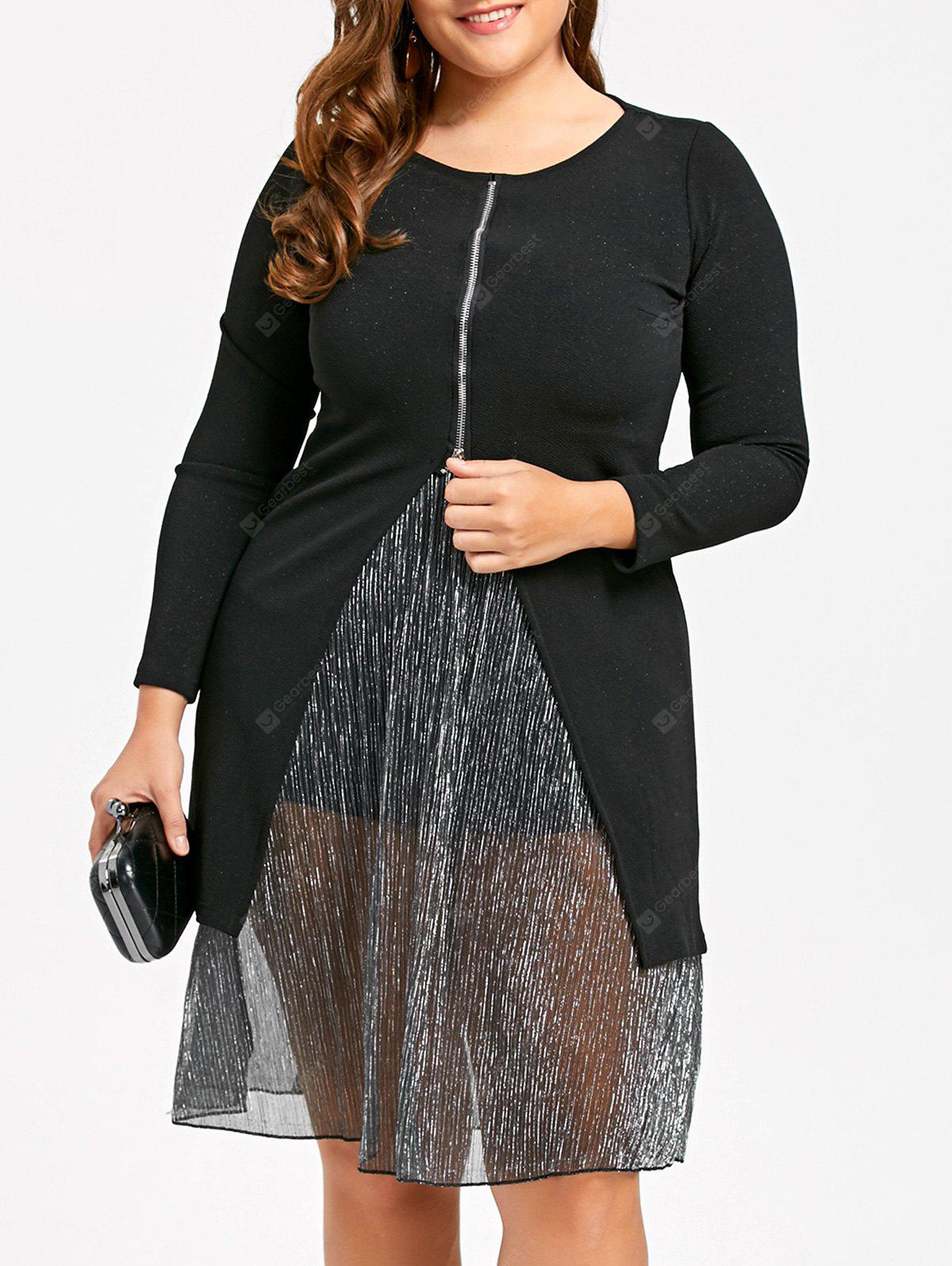 BLACK 2XL Plus Size Zip Front Lurex Stripe Dress