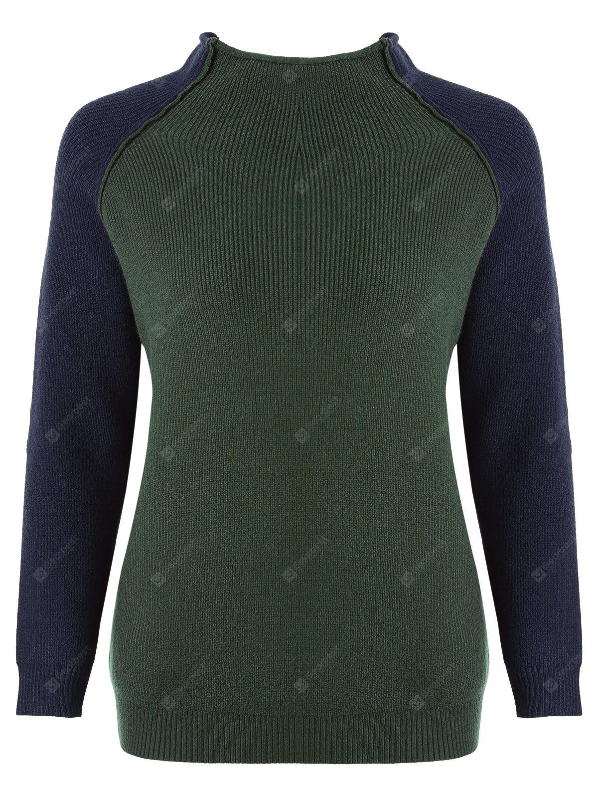 Plus Size Color Block Elbow Patches Mock Neck Sweater - ARMY GREEN