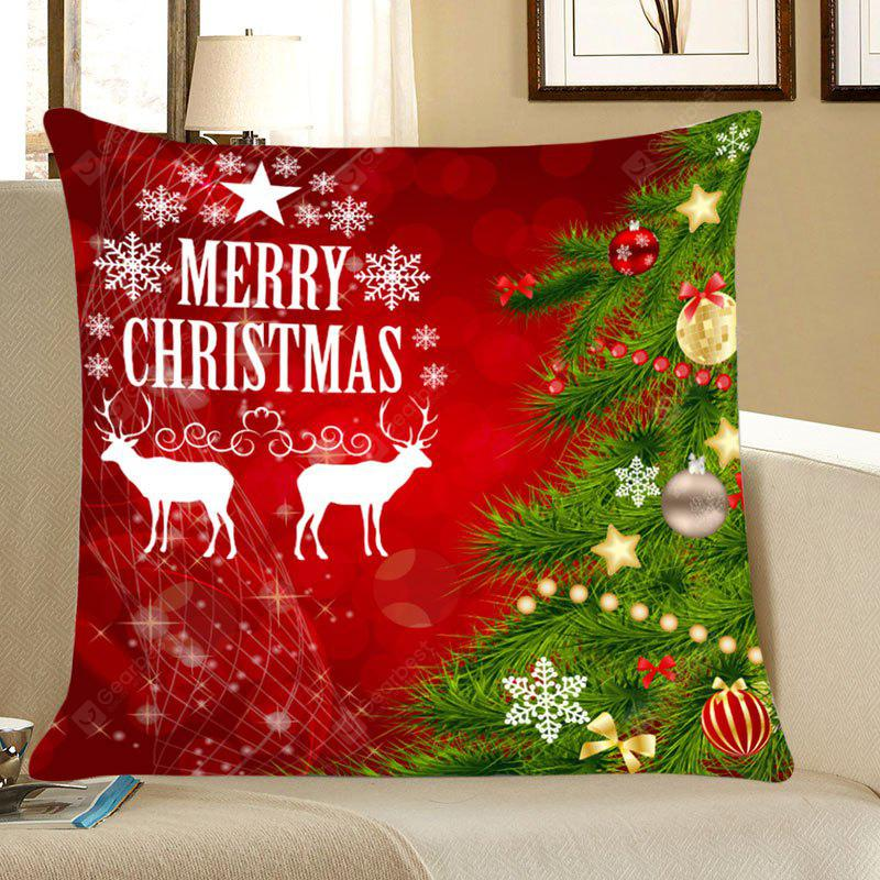 Christmas Tree Elks Pattern Decorative Throw Pillow Case