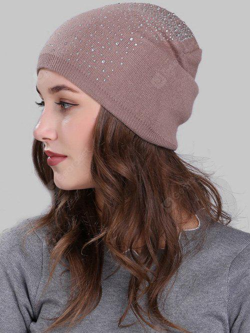 Vintage Crochet Knitted Beanie with Rhinestone Embellished