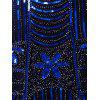 V Neck Sequined Fringed Midi Party Dress - ROYAL