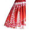 Print Lace Panel Vintage Party Dress - RED