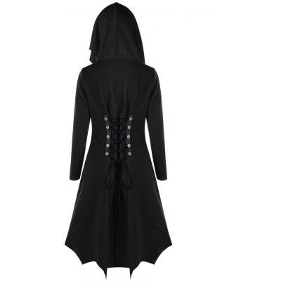 Lace Up Hooded Dip Hem CoatJackets &amp; Coats<br>Lace Up Hooded Dip Hem Coat<br><br>Clothes Type: Others<br>Collar: Hooded<br>Material: Spandex, Polyester<br>Package Contents: 1 x Coat<br>Pattern Type: Solid<br>Season: Fall, Spring<br>Shirt Length: Long<br>Sleeve Length: Full<br>Style: Novelty<br>Type: Slim<br>Weight: 0.9500kg