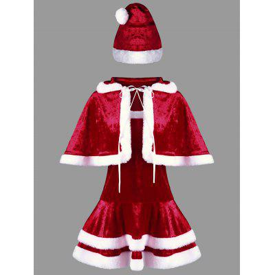 Buy RED AND WHITE M Christmas Two Tone Strapless Dress and Cape for $33.49 in GearBest store