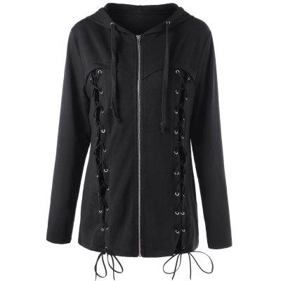 Halloween Plus Size Lace Up Hoodie