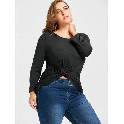 Plus Size Soft Front Twist T-shirtPlus Size Tops<br>Plus Size Soft Front Twist T-shirt<br><br>Collar: Round Neck<br>Material: Cotton Blends, Polyester<br>Package Contents: 1 x Tee<br>Pattern Type: Solid<br>Season: Spring, Winter, Fall<br>Shirt Length: Regular<br>Sleeve Length: Three Quarter<br>Style: Casual<br>Weight: 0.2700kg