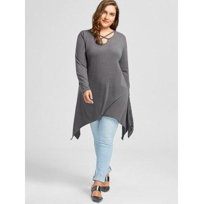 Plus Size Criss Cross Asymmetrical Longline T-shirtPlus Size Tops<br>Plus Size Criss Cross Asymmetrical Longline T-shirt<br><br>Collar: V-Neck<br>Material: Polyester, Spandex<br>Package Contents: 1 x T-shirt<br>Pattern Type: Solid<br>Season: Fall, Spring<br>Shirt Length: Long<br>Sleeve Length: Full<br>Style: Casual<br>Weight: 0.3550kg