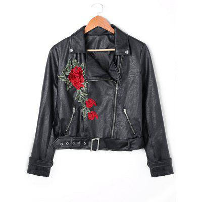Floral Embroidered Zip Fly PU Leather Jacket