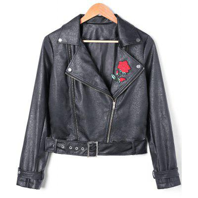 PU Leather Floral Embroidered Zip Fly Biker Jacket