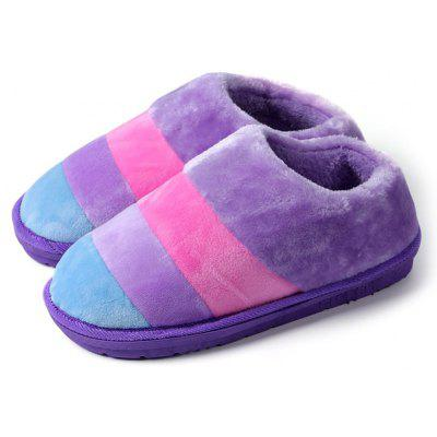 """Striped Color Block Suede SlippersSlippers &amp; Flip-Flops<br>Striped Color Block Suede Slippers<br><br>Gender: For Women<br>Heel Height Range: Low(0.75""""-1.5"""")<br>Heel Type: Low Heel<br>Package Contents: 1 x Slippers (pair)<br>Pattern Type: Striped<br>Season: Spring/Fall, Winter<br>Shoe Width: Medium(B/M)<br>Slipper Type: Indoor<br>Style: Leisure<br>Upper Material: Suede<br>Weight: 0.4500kg"""