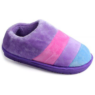 Striped Color Block Suede Slippers