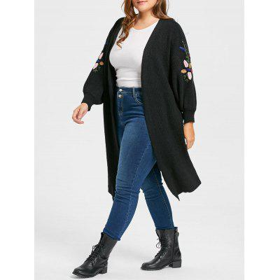 Plus Size Collarless Ribbed Embroidered Long Cardigan