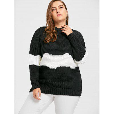 Contrast Plus Size Mock Neck Chunky Knit SweaterPlus Size<br>Contrast Plus Size Mock Neck Chunky Knit Sweater<br><br>Collar: High Collar<br>Material: Polyester<br>Package Contents: 1 x Sweater<br>Pattern Type: Others<br>Season: Winter, Fall<br>Sleeve Length: Full<br>Style: Casual<br>Type: Pullovers<br>Weight: 0.7400kg