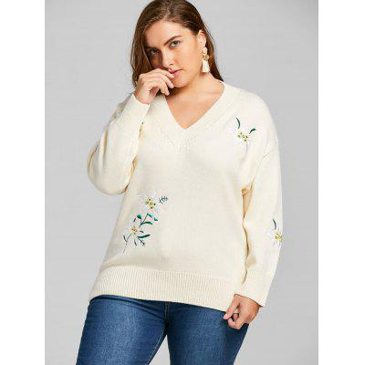 Plus Size Floral Embroidered V Neck SweaterPlus Size<br>Plus Size Floral Embroidered V Neck Sweater<br><br>Collar: V-Neck<br>Material: Polyester<br>Package Contents: 1 x Sweater<br>Pattern Type: Floral<br>Season: Winter, Fall<br>Sleeve Length: Full<br>Style: Fashion<br>Technics: Flat Knitted<br>Type: Pullovers<br>Weight: 0.6400kg