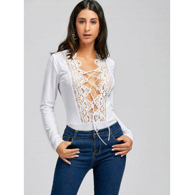 Lace Trimmed Plunging Neck Tie Up BodysuitJumpsuits &amp; Rompers<br>Lace Trimmed Plunging Neck Tie Up Bodysuit<br><br>Embellishment: Lace<br>Fit Type: Skinny<br>Material: Polyester, Spandex<br>Package Contents: 1 x Bodysuit<br>Pattern Type: Solid<br>Season: Fall, Spring<br>Style: Sexy<br>Weight: 0.2500kg<br>With Belt: No
