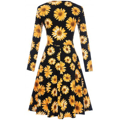 Sunflower Long Sleeve Surplice DressWomens Dresses<br>Sunflower Long Sleeve Surplice Dress<br><br>Dresses Length: Knee-Length<br>Material: Polyester<br>Neckline: V-Neck<br>Package Contents: 1 x Dress<br>Pattern Type: Floral<br>Season: Fall, Spring<br>Silhouette: Shift<br>Sleeve Length: Long Sleeves<br>Style: Cute<br>Weight: 0.3200kg<br>With Belt: No