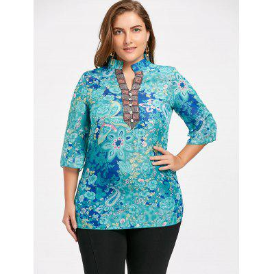 Plus Size Floral Notched Chiffon BlousePlus Size Tops<br>Plus Size Floral Notched Chiffon Blouse<br><br>Collar: V-Neck<br>Material: Cotton Blends, Polyester<br>Package Contents: 1 x Blouse<br>Pattern Type: Print<br>Season: Fall, Winter<br>Shirt Length: Long<br>Sleeve Length: Three Quarter<br>Style: Casual<br>Weight: 0.2100kg