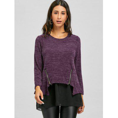 Mesh Panel Zipper Embellished SweaterSweaters &amp; Cardigans<br>Mesh Panel Zipper Embellished Sweater<br><br>Collar: Round Neck<br>Material: Polyester, Spandex<br>Package Contents: 1 x Sweater<br>Pattern Type: Others<br>Season: Winter, Fall<br>Sleeve Length: Full<br>Style: Fashion<br>Type: Pullovers<br>Weight: 0.4200kg
