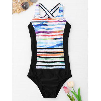 Striped Crossback One Piece Swimsuit