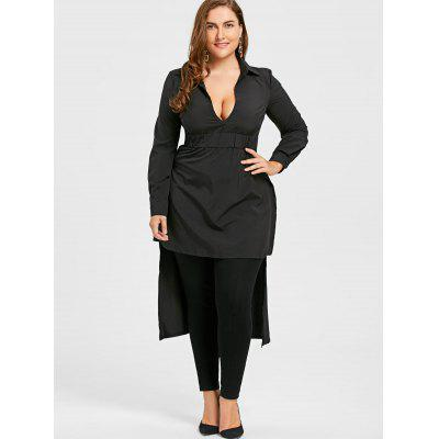 Plus Size Elastic Waist Long High Low ShirtPlus Size Tops<br>Plus Size Elastic Waist Long High Low Shirt<br><br>Collar: V-Neck<br>Embellishment: Dovetail<br>Material: Polyester<br>Package Contents: 1 x Shirt<br>Pattern Type: Solid<br>Season: Winter, Fall<br>Shirt Length: Long<br>Sleeve Length: Full<br>Style: Fashion<br>Weight: 0.3300kg