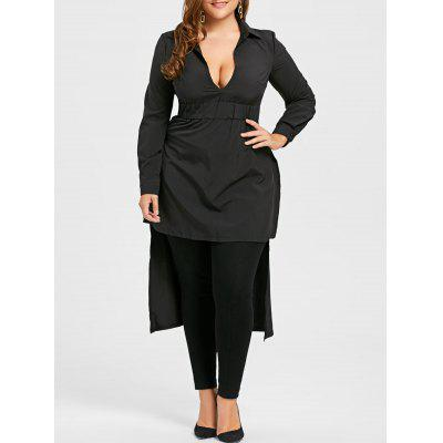 Plus Size Elastic Waist Long High Low Shirt