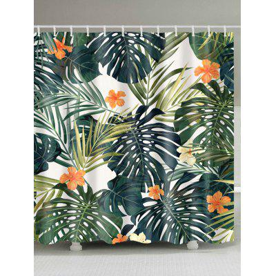 Waterproof Polyester Palm Leaves Print Shower Curtain