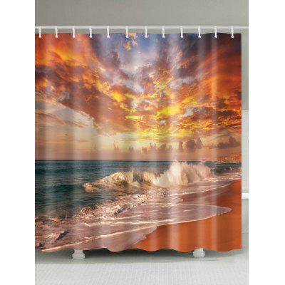 Buy COLORMIX Beach Sunset Scenery Print Polyester Waterproof Bath Curtain for $18.98 in GearBest store