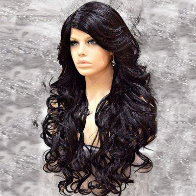 Long Side Parting Fluffy Curly Synthetic Wig