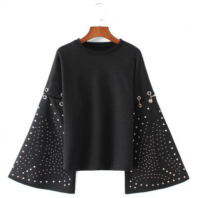 Metallic Rings Flare Sleeve Cutout Sweatshirt