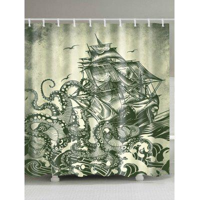 Nautical Sailboat Octopus Waterproof Polyester Shower Curtain