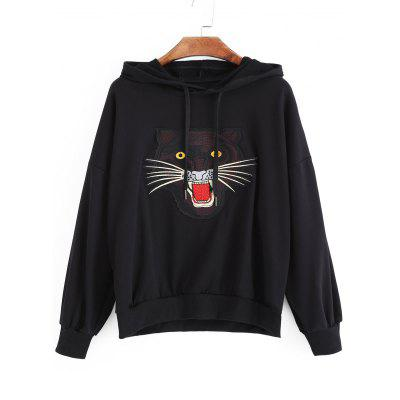 Tiger Face Patched Flower Sequined Hoodie