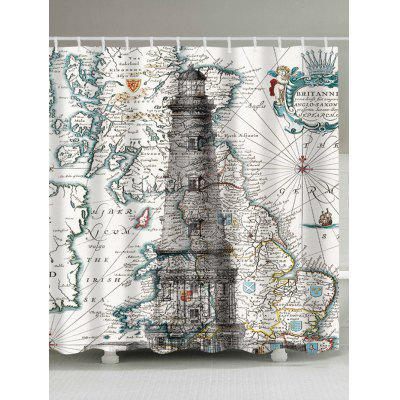Nautical Map and Lighthouse Print Waterproof Shower Curtain