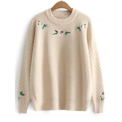 Floral Embroidered Cable Knit Pullover Sweater