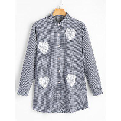 Gingham Heart Applique Shirt