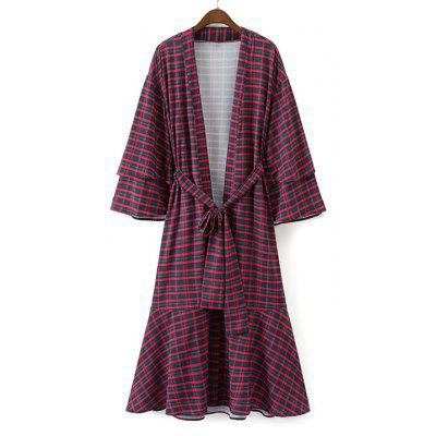 Checked Flounces Belted Duster Coat