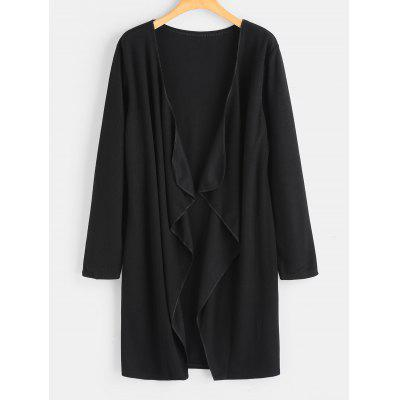 Open Front Plain Draped Cardigan