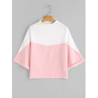 Side Slit Slash Neck Contrast Sweatshirt
