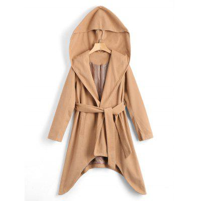 Asymmetrical Belted Hooded Coat