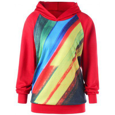 Plus Size Colorful Stripes Raglan Sleeve Pullover Hoodie