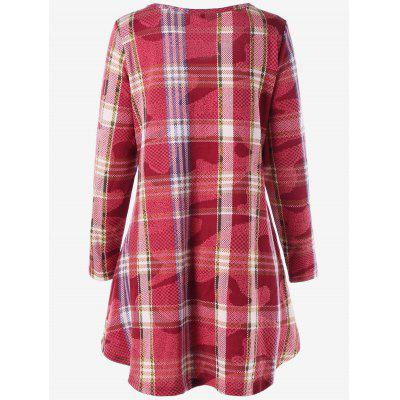 Plus Size Criss Cross Plaid Mini Swing DressPlus Size Dresses<br>Plus Size Criss Cross Plaid Mini Swing Dress<br><br>Dresses Length: Mini<br>Embellishment: Criss-Cross<br>Material: Polyester<br>Neckline: Scoop Neck<br>Package Contents: 1 x Dress<br>Pattern Type: Plaid<br>Season: Fall, Spring<br>Silhouette: A-Line<br>Sleeve Length: Long Sleeves<br>Style: Brief<br>Weight: 0.4500kg<br>With Belt: No