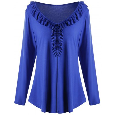 Plus Size Long Sleeve Ruffled Tunic T-shirt