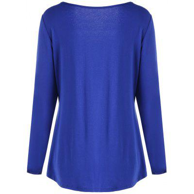 Plus Size Long Sleeve Ruffled Tunic T-shirtPlus Size Tops<br>Plus Size Long Sleeve Ruffled Tunic T-shirt<br><br>Collar: V-Neck<br>Material: Cotton, Polyester<br>Package Contents: 1 x T-shirt<br>Pattern Type: Solid<br>Season: Fall, Spring<br>Shirt Length: Regular<br>Sleeve Length: Full<br>Style: Fashion<br>Weight: 0.3200kg