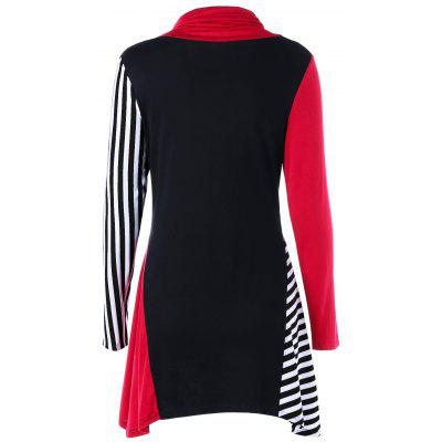 Asymmetrical Turtleneck Color Block Striped TeeBlouses<br>Asymmetrical Turtleneck Color Block Striped Tee<br><br>Collar: Turtleneck<br>Material: Cotton, Polyester<br>Package Contents: 1 x Tee<br>Pattern Type: Striped<br>Season: Fall, Spring<br>Shirt Length: Long<br>Sleeve Length: Full<br>Style: Gothic<br>Weight: 0.3000kg