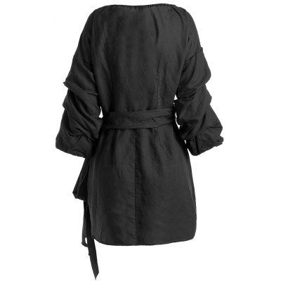 Wrap Cinched Sleeve Mini DressMini Dresses<br>Wrap Cinched Sleeve Mini Dress<br><br>Dress Type: Wrap Dress<br>Dresses Length: Mini<br>Material: Cotton, Polyester<br>Neckline: V-Neck<br>Occasion: Casual, Going Out<br>Package Contents: 1 x Dress<br>Pattern Type: Solid<br>Season: Fall, Spring, Summer<br>Sleeve Length: 3/4 Length Sleeves<br>Weight: 0.4300kg<br>With Belt: No