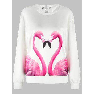 Flamingo Print Drop Shoulder Lace Up SweatshirtSweatshirts &amp; Hoodies<br>Flamingo Print Drop Shoulder Lace Up Sweatshirt<br><br>Material: Polyester<br>Package Contents: 1 x Sweatshirt<br>Pattern Style: Animal<br>Season: Spring, Winter, Fall<br>Shirt Length: Regular<br>Sleeve Length: Full<br>Style: Casual<br>Weight: 0.4000kg
