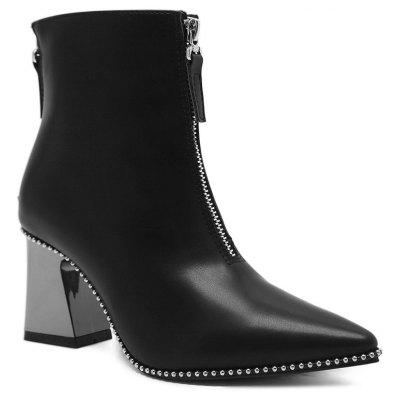 Pointed Toe Chunky Heel Rivets Boots