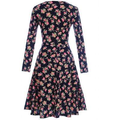 Floral Print Long Sleeve Shift Surplice DressWomens Dresses<br>Floral Print Long Sleeve Shift Surplice Dress<br><br>Dresses Length: Knee-Length<br>Material: Polyester, Spandex<br>Neckline: V-Neck<br>Package Contents: 1 x Dress<br>Pattern Type: Floral<br>Season: Spring, Fall<br>Silhouette: Shift<br>Sleeve Length: Long Sleeves<br>Style: Cute<br>Weight: 0.3200kg<br>With Belt: No